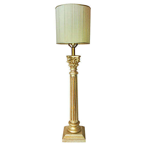 1940s Italian Silver Gilt Table Lamp
