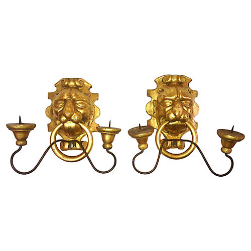 Italian Gilt Lion Candle Sconces, S/2