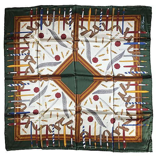 Italian Les Copains Print Silk Scarf