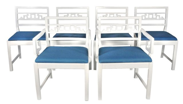 Lacquered Baker Dining Chairs, S/6