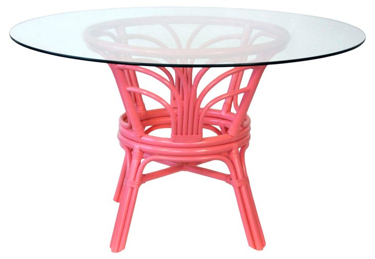 Pink Rattan Glass-Top  Table