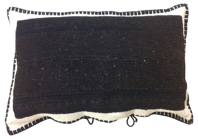 Black Boiled Wool  Embroidered Pillow