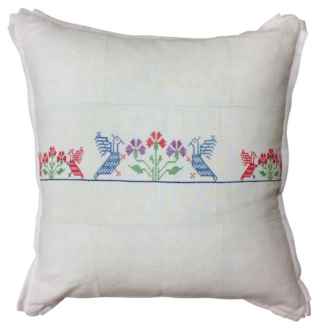 Linen Pillow Sham w/ Floral Embroidery