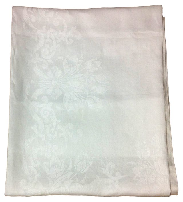 White Hemstitched Damask Tablecloth