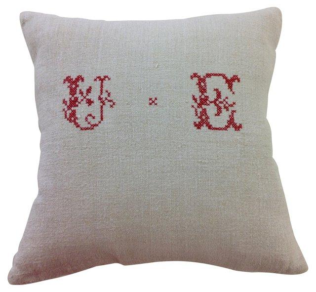 Feedsack Pillow w/ UE Monogram