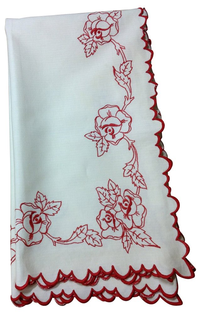 Tablecloth w/ Red Embroidery