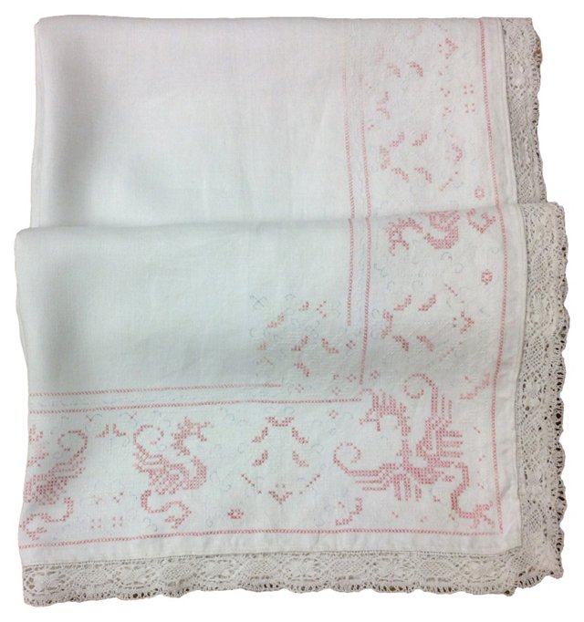 Faded Red & Trousseau Blue Tablecloth
