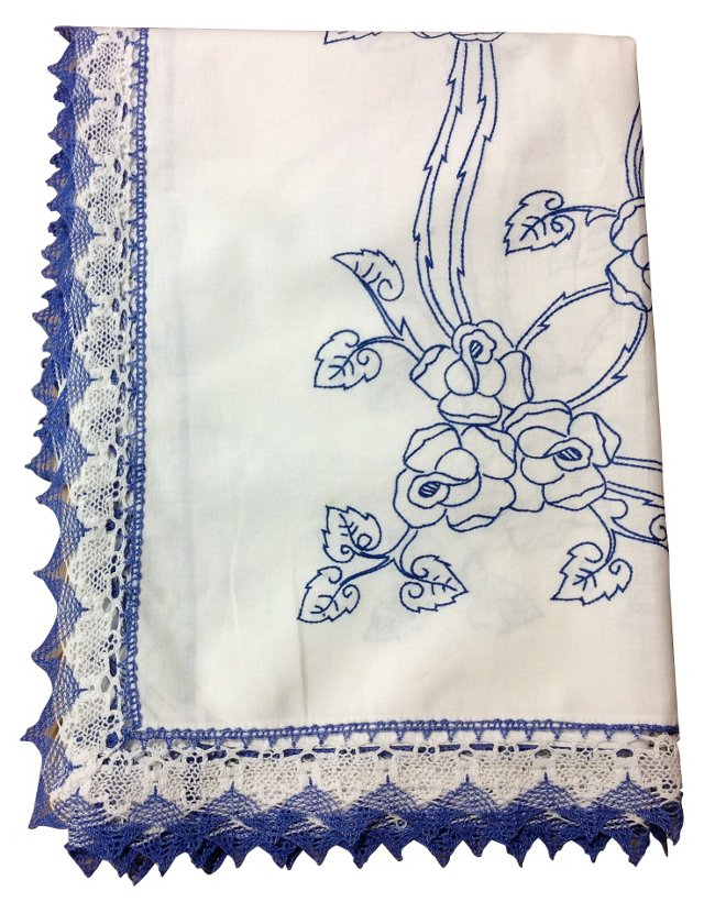 Blue Rose Tablecloth w/ Lace
