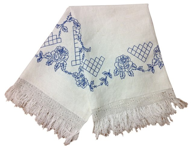 Blanket Cover w/ Blue Embroidery