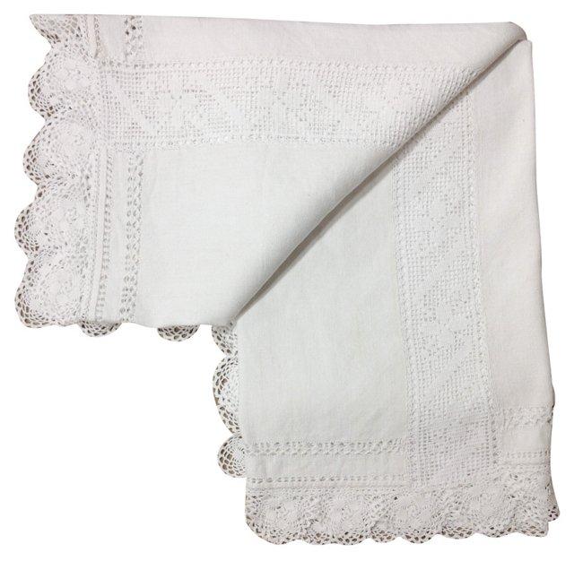 Antique Blanket Cover w/ Crochet Edge