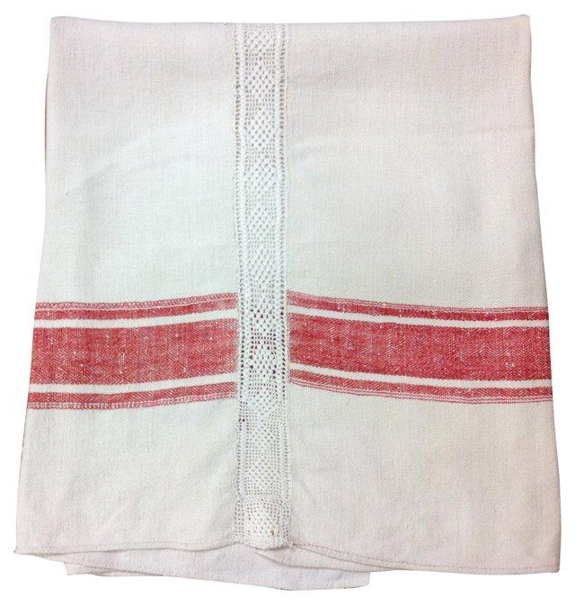 Herringbone Bedcover w/ Red Stripe