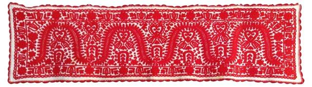 Redwork Embroidered Blanket Cover