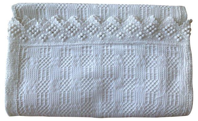 Linen Jacquard Blanket Cover w/ Crochet