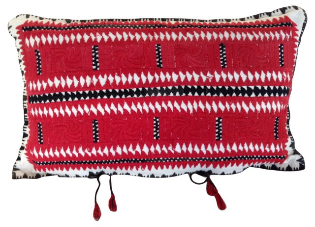 Red & Black Hungarian Embroidered  Sham