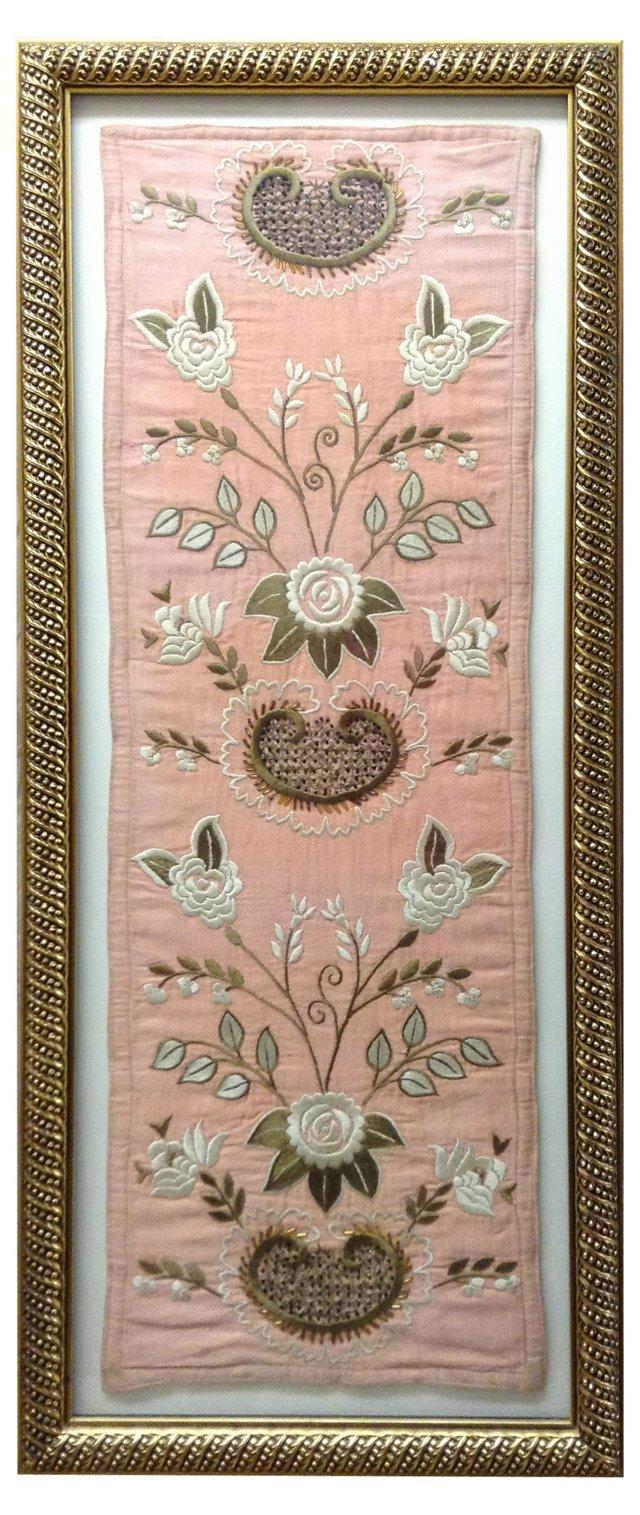 Framed Hungarian Beaded Silk Tapestry
