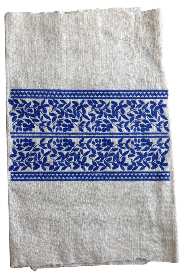 Blue Embroidered Linen