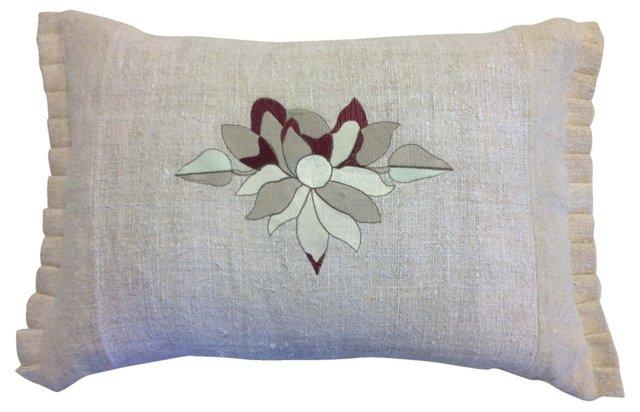 Linen Pillow Sham w/ Flower