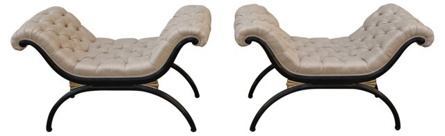 Black Lacquered Benches, Pair