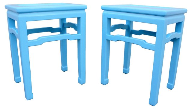 Blue Lacquered Baker End Tables, Pair