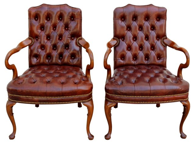 Tufted Leather Armchairs, Pair