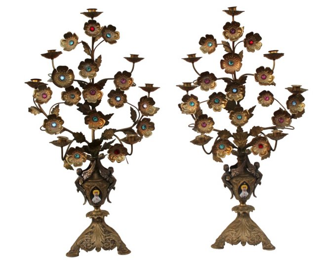 French Brass Candelabra, Pair