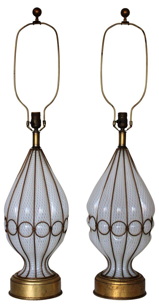 1960s Murano Glass Lamps, Pair