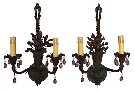 French Tole Painted Sconces