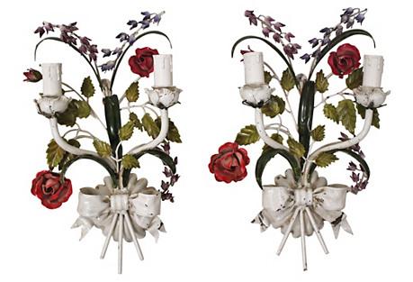 Italian Floral Tole Sconces