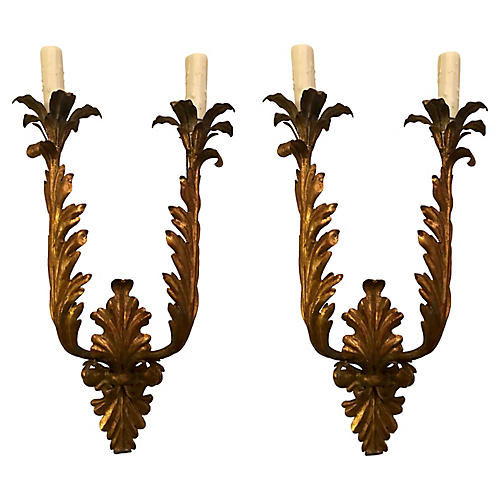 Italian Gilt-Iron Sconces, Pair
