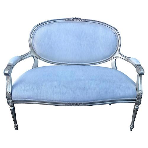 Louis XVI- Style Silverleafed Settee