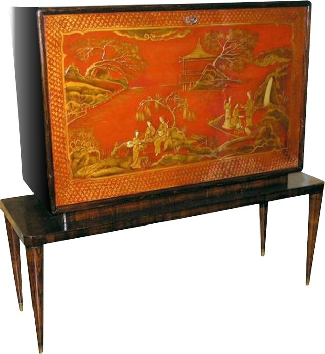 Chinoiserie Mirrored Bar Cabinet
