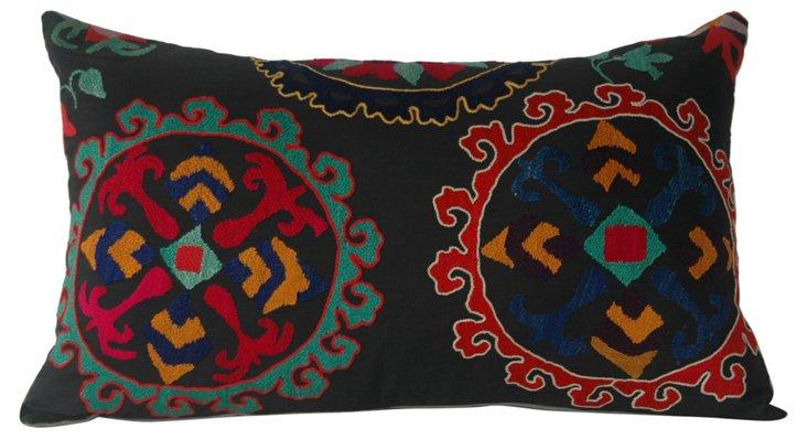 Black  Suzani Lumbar Pillow