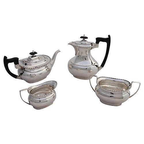 English Beaded Tea Set, C. 1900, 4 Pcs