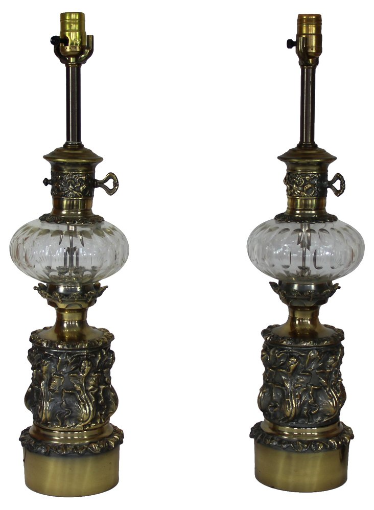 1950s Pressed Glass Lamps, Pair
