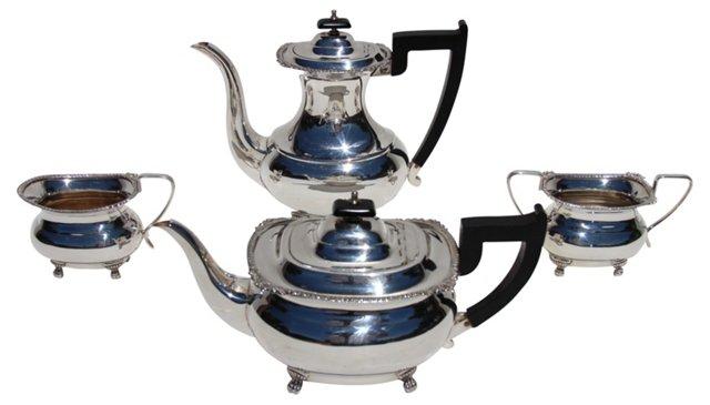 Silver Tea Set, C. 1950, 4 Pcs