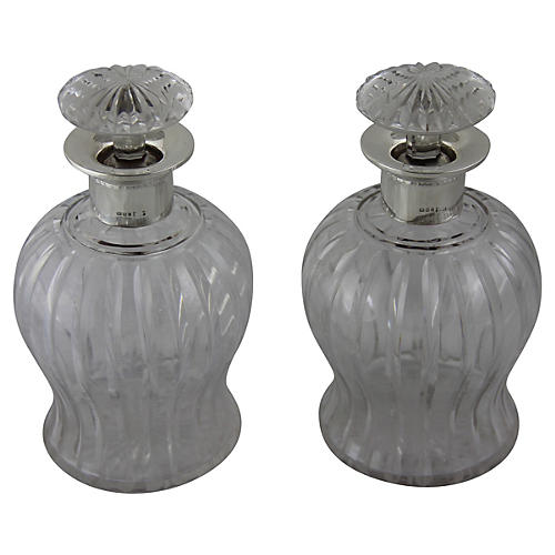 1925 English Glass Decanters, Pair