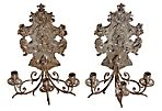 Silver Wall Sconces, C. 1880, Pair