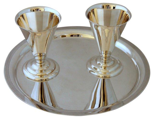 Art  Deco Tray w/ 2 Cups, C. 1900