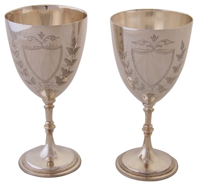 Engraved English Goblets, Pair