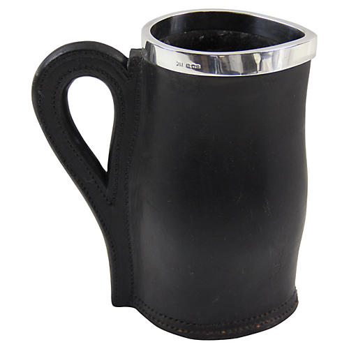 Sterling Rimmed Leather Pitcher, 1920