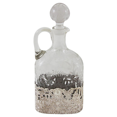 Sterling & Glass Decanter, C. 1890