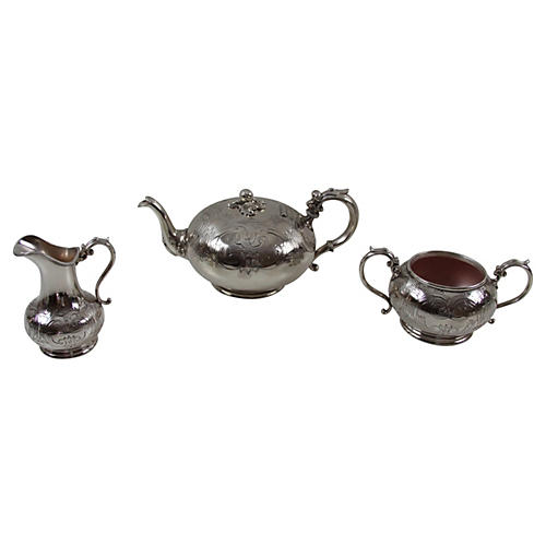 3-Pc English Engraved Tea Set, C.1860