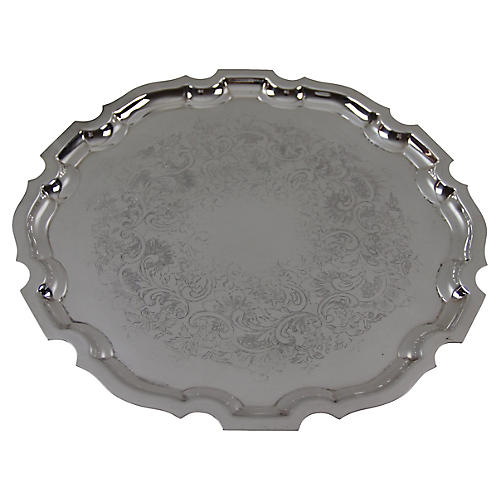 Silver Plate Chippendale Tray, C. 1950