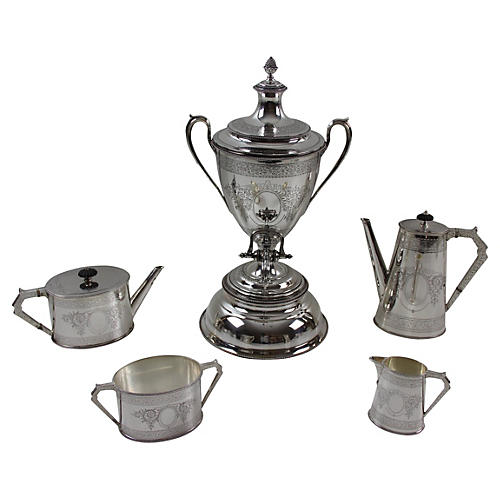 English Tea & Coffee Set, 5-Pcs, C.1860
