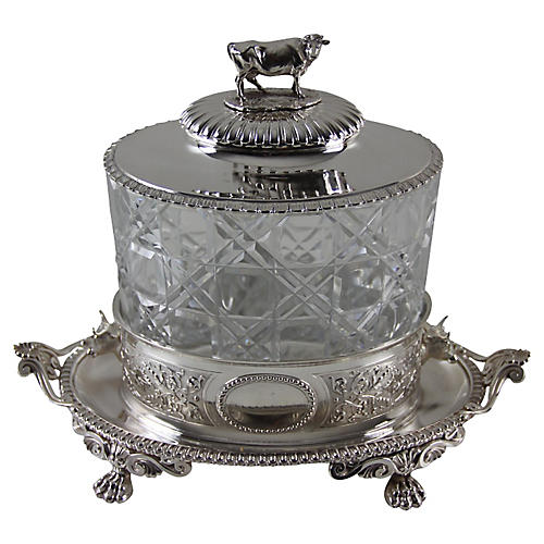 English Sterling Silver Biscuit Box,1869