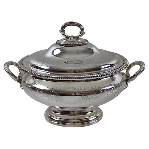 Oval Hand Engraved Soup Tureen, C.1860