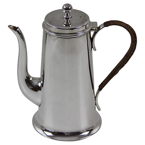 Silver-Plate Wicker-Handle Coffeepot