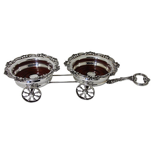 Wagon Trolley Silver-Plate Coaster