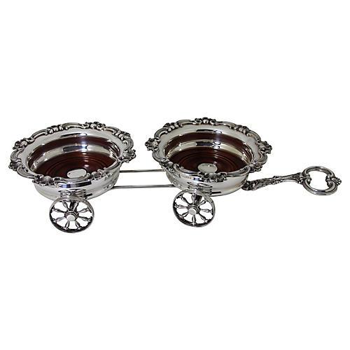 Wagon Trolley Silver-Plate Coaster