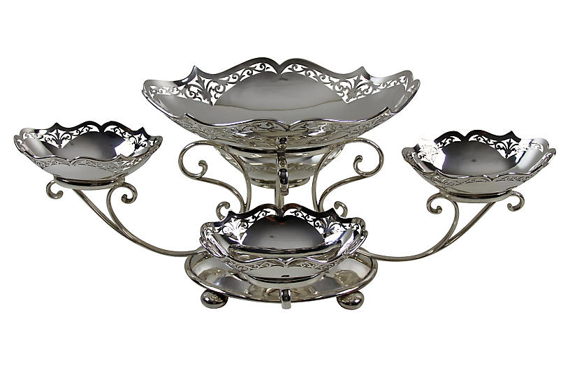 Oval English Epergne, 5 Pcs